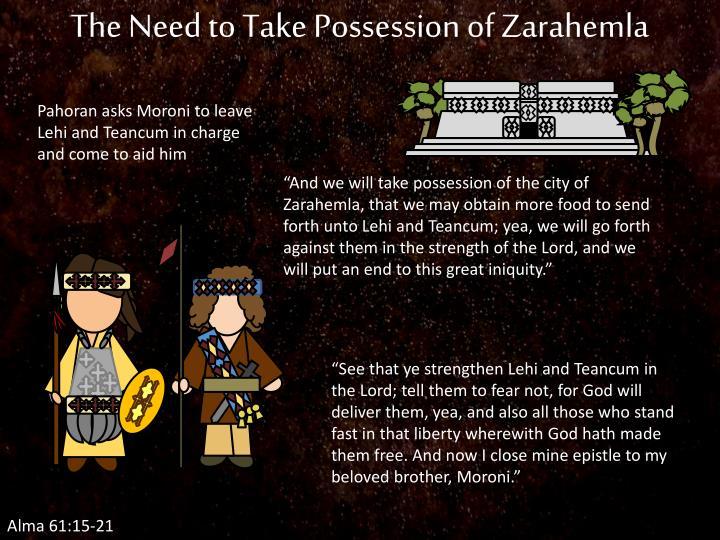 The Need to Take Possession of Zarahemla