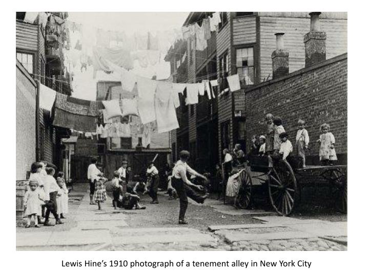 Lewis Hine's 1910 photograph of a tenement alley in New York City