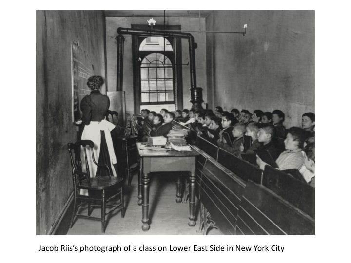 Jacob Riis's photograph of a class on Lower East Side in New York City