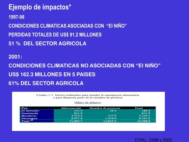 Ejemplo de impactos*