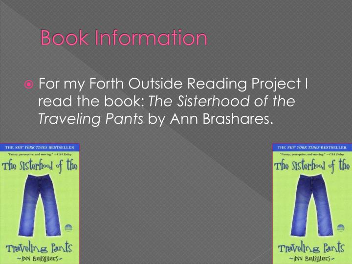 a short summary of the book the sisterhood of the traveling pants by ann brashares The sisterhood of the traveling pants: free chapter notes cliff notes™, cliffs notes™, cliffnotes™, cliffsnotes™ are trademarked properties of the john wiley publishing company thebestnotescom does not provide or claim to provide free cliff notes™ or free sparknotes.