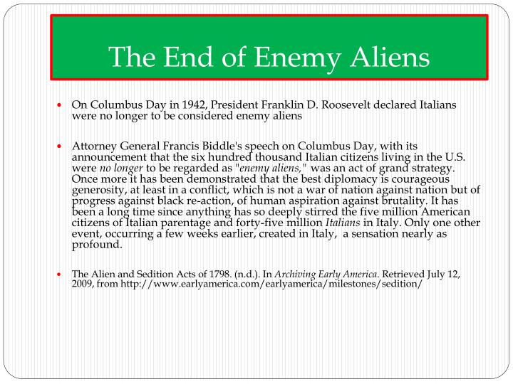 The End of Enemy Aliens