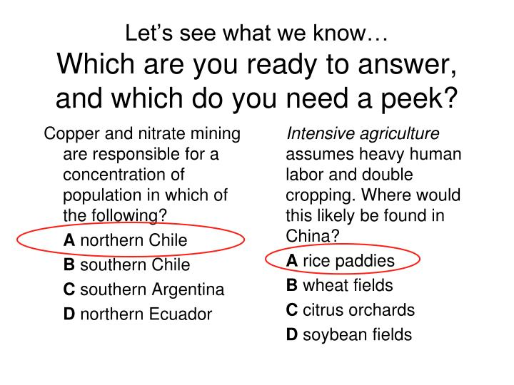 Copper and nitrate mining are responsible for a concentration of population in which of the following?