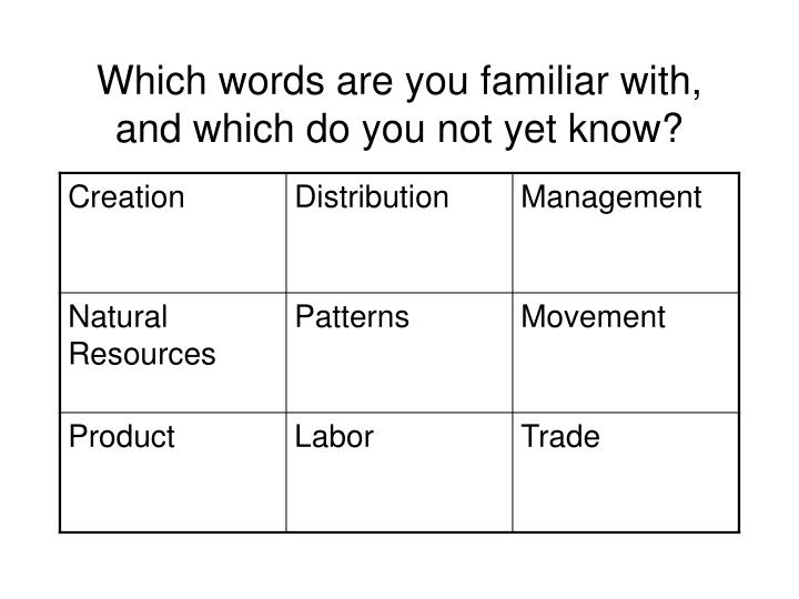 Which words are you familiar with and which do you not yet know