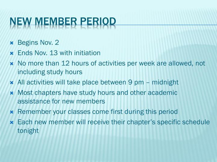 Begins Nov. 2