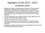 highlights of the 2012 2013 academic year2