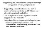 supporting mc students on campus through programs events employment