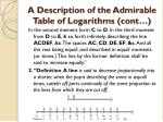 a description of the admirable table of logarithms cont