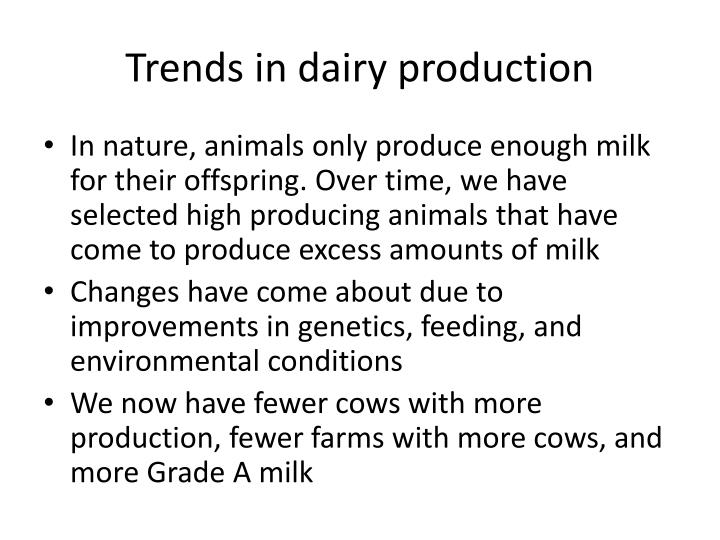 Trends in dairy production