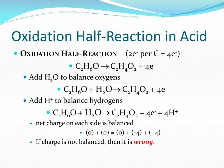 Oxidation Half-Reaction in Acid
