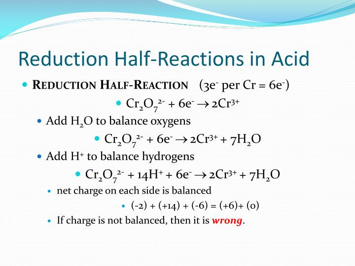 Reduction Half-Reactions in Acid