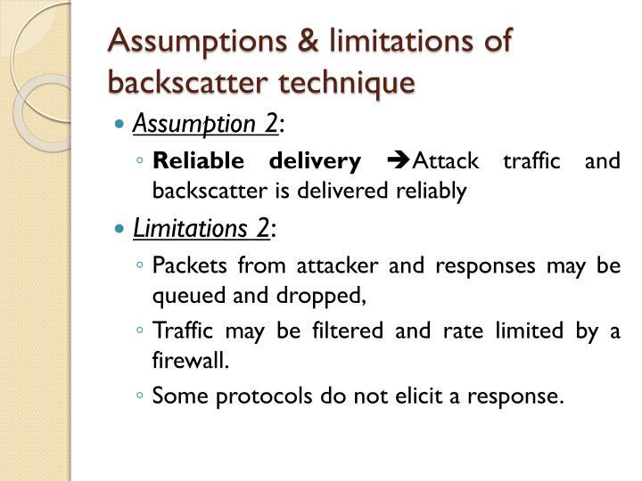Assumptions & limitations of