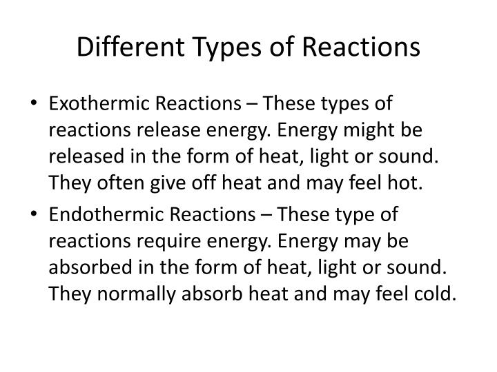 different reactions essay General chemistry/properties and theories of acids  are different from redox reactions because  title=general_chemistry/properties_and_theories_of_acids.