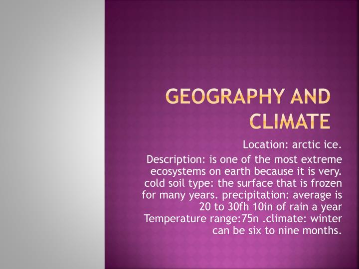 geography and climate n.