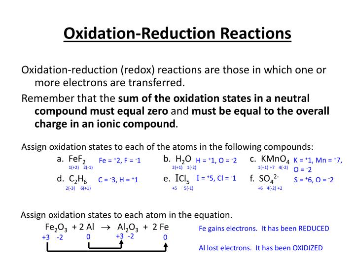 oxidation reduction reactions n.
