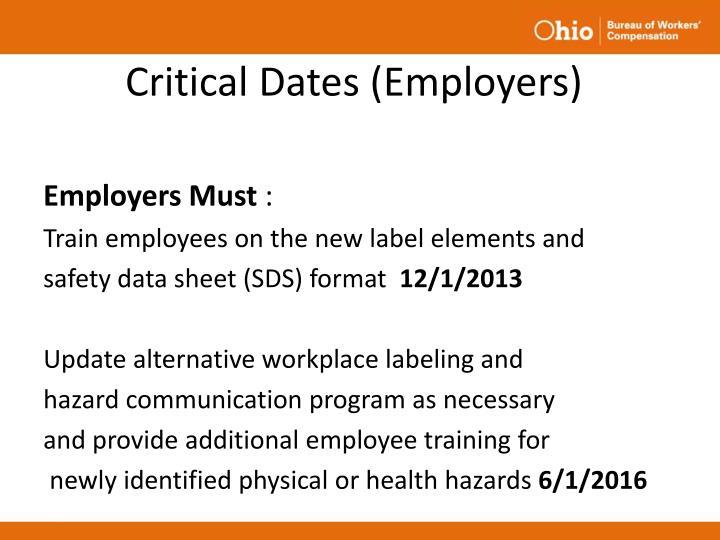 Critical Dates (Employers)