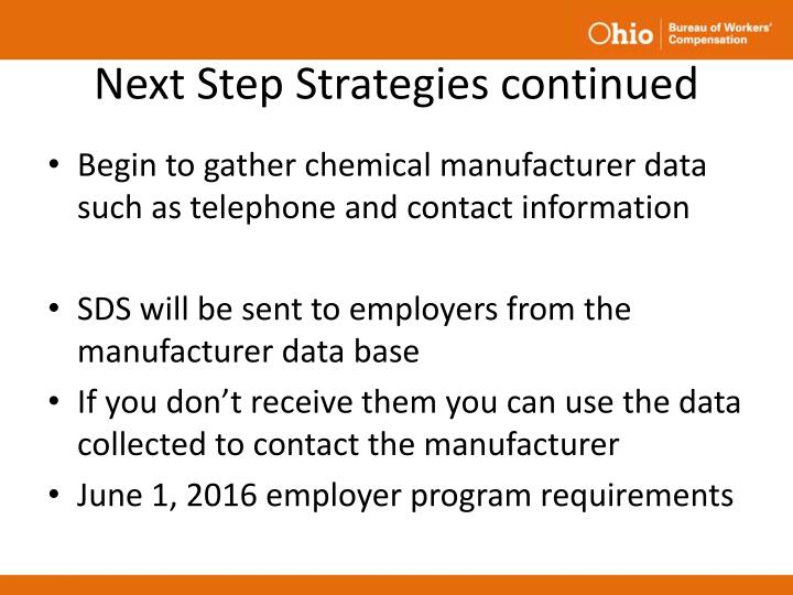 Next Step Strategies continued