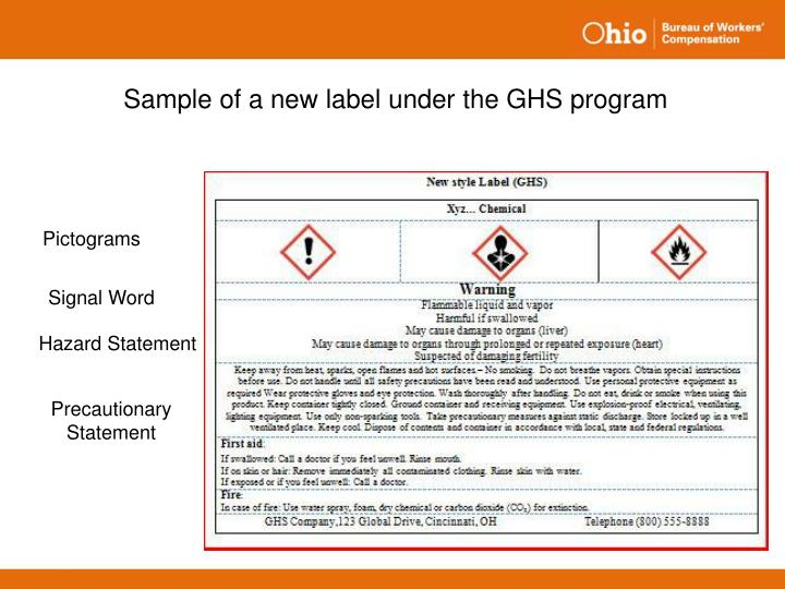 Sample of a new label under the GHS program