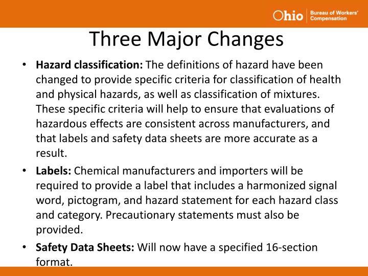 Three Major Changes