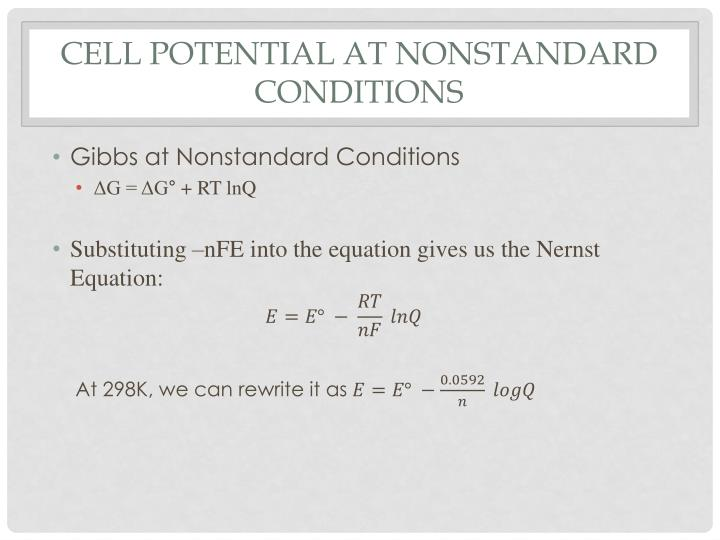 cell potential at nonstandard conditions