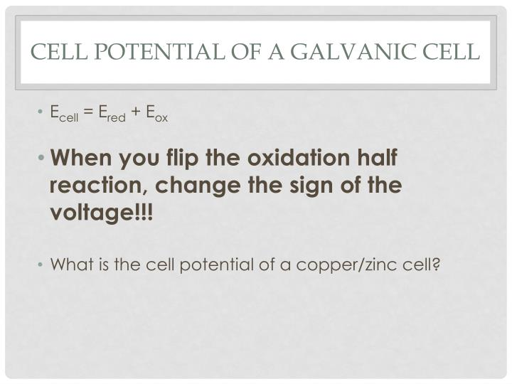 Cell potential of a galvanic cell