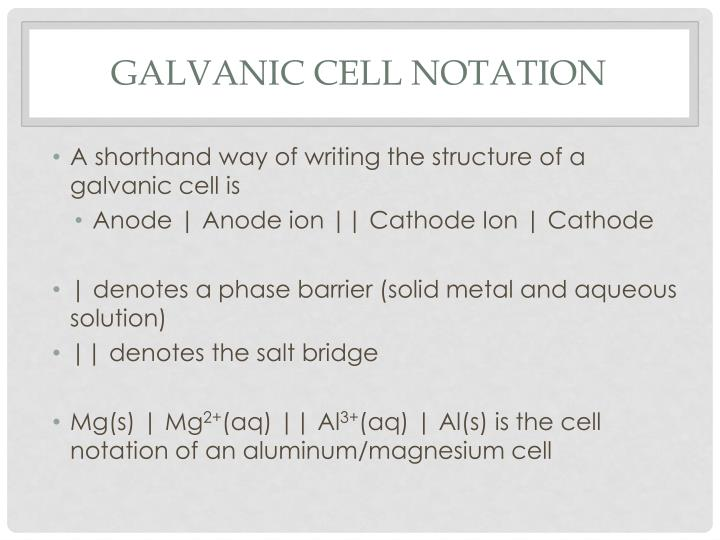 Galvanic cell notation