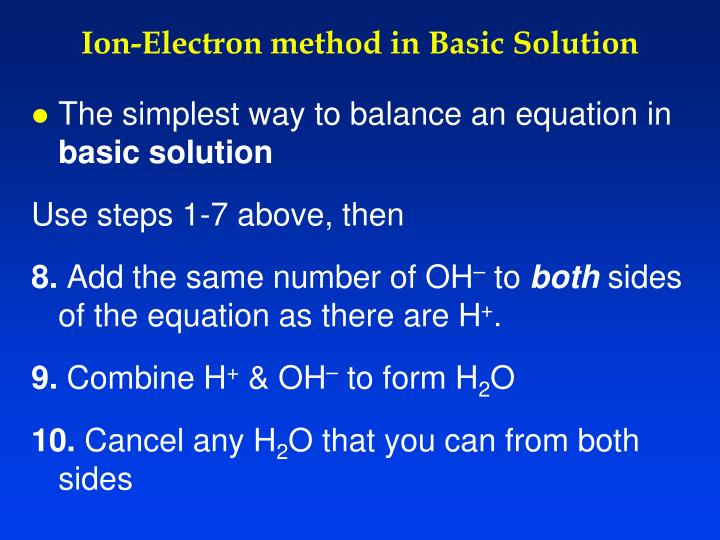 Ion-Electron method in Basic Solution