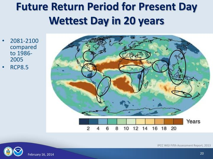 Future Return Period for Present Day Wettest Day in 20 years