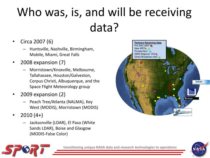 Who was is and will be receiving data