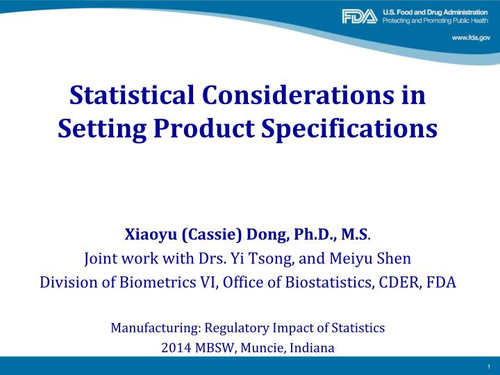 statistical considerations in setting product specifications n.