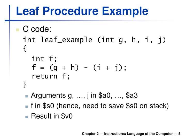 Leaf Procedure Example