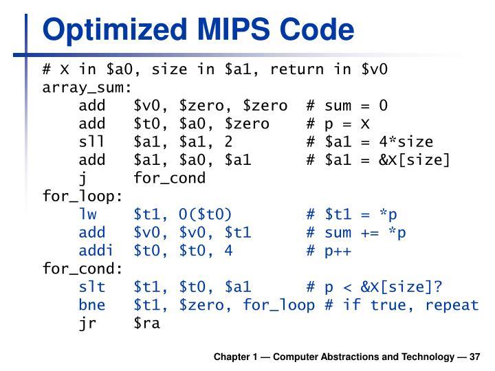 Optimized MIPS Code