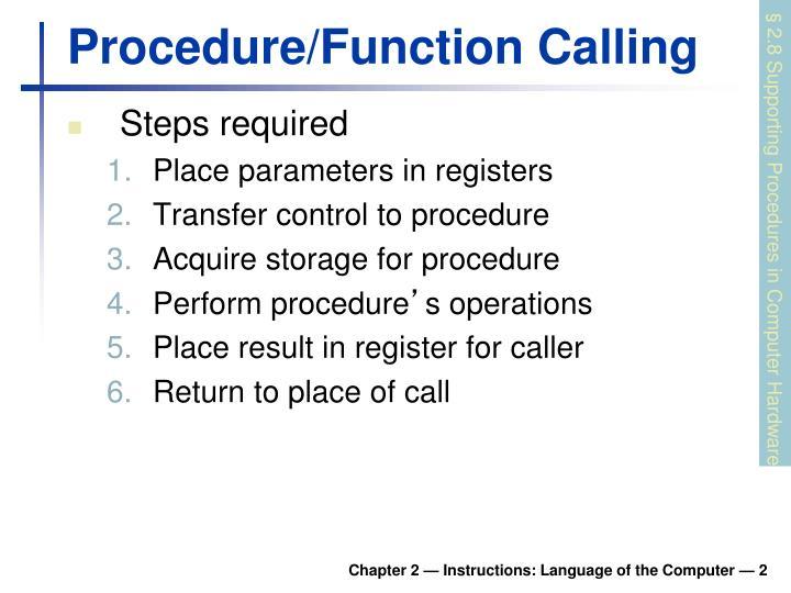 Procedure function calling