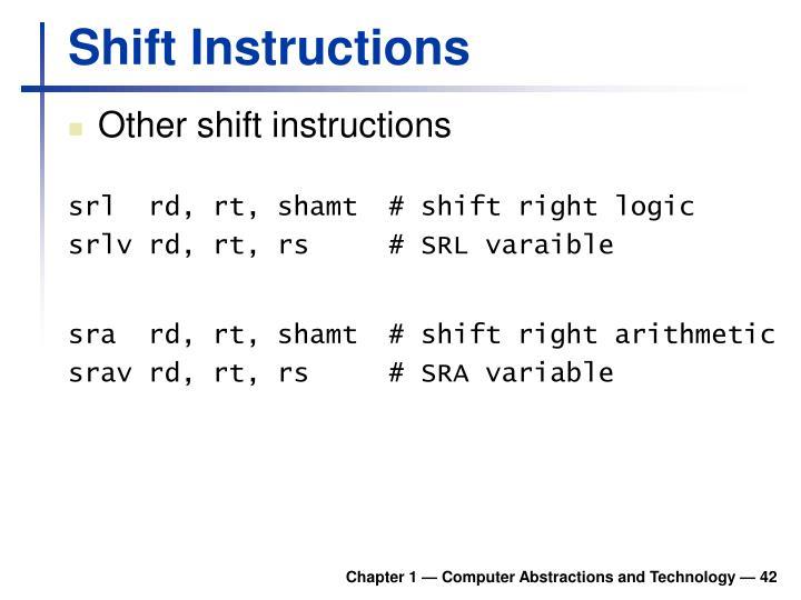 Shift Instructions