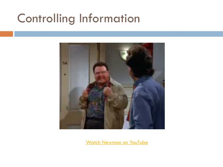 Controlling information
