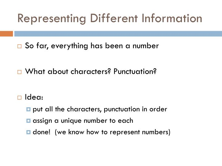 Representing Different Information
