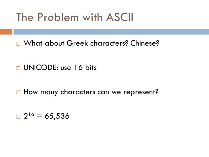The Problem with ASCII