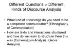 different questions different kinds of discourse analysis