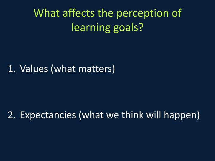What affects the perception of learning goals?