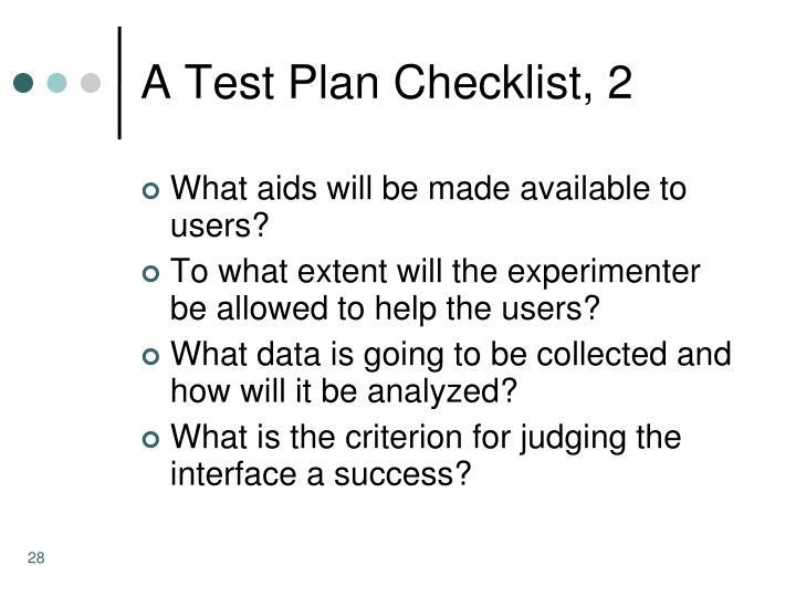 A Test Plan Checklist, 2