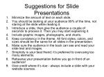 suggestions for slide presentations