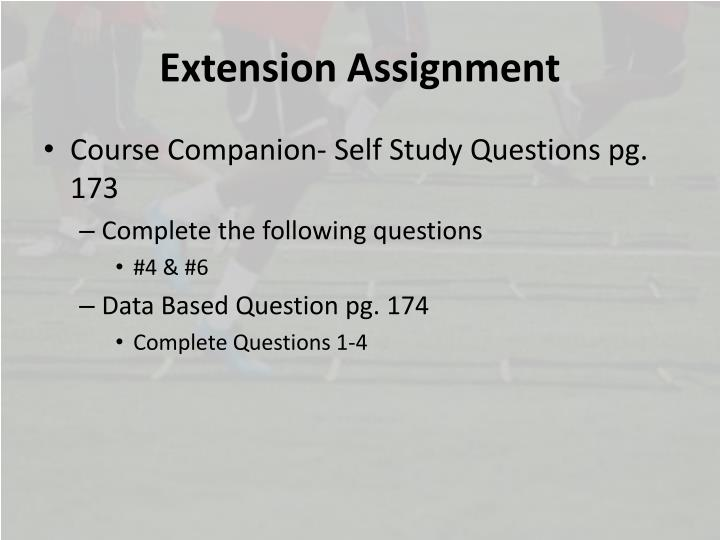 Extension Assignment