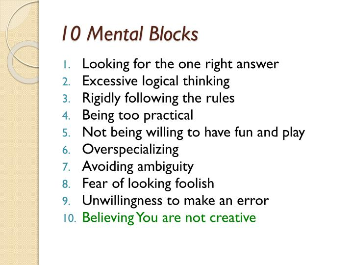 10 Mental Blocks