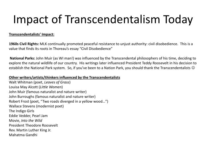 Ppt  American Literature    Powerpoint Presentation  Id  Impact Of Transcendentalism Today