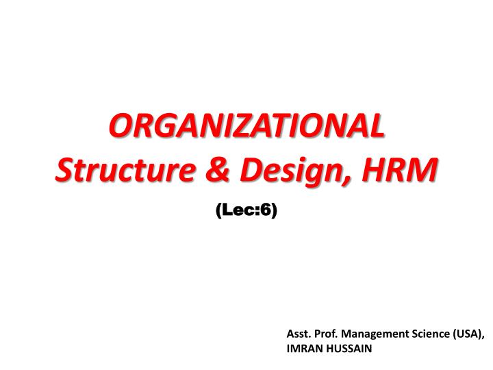 organizational structure design hrm n.