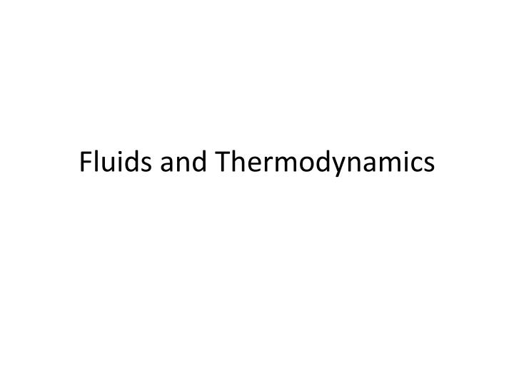 fluids and thermodynamics n.