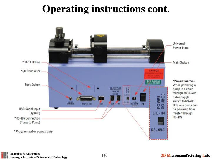 Operating instructions cont.