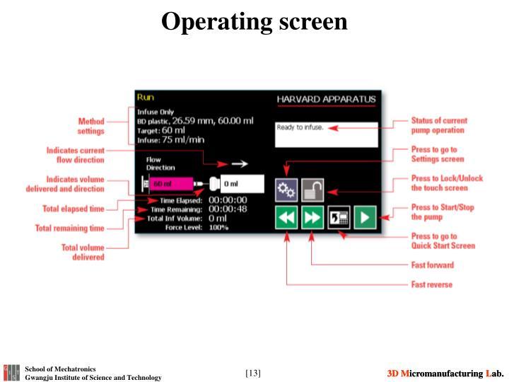 Operating screen