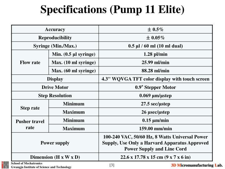 Specifications pump 11 elite