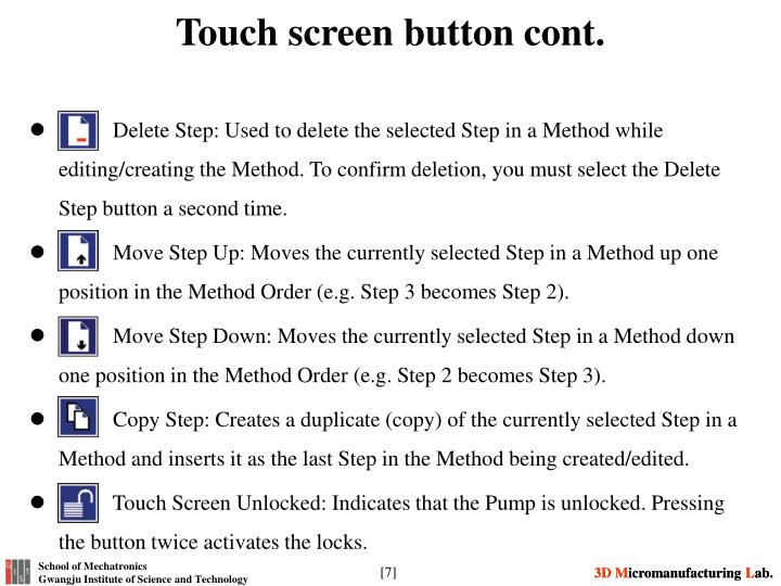 Touch screen button cont.